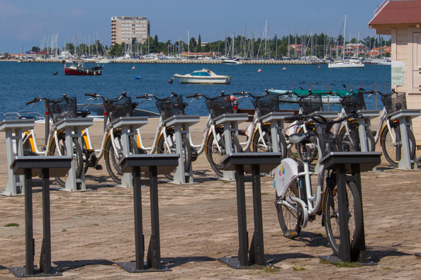 Boris Bikes to rent on the seafront at Umag on the Istrian Coast of Croatia