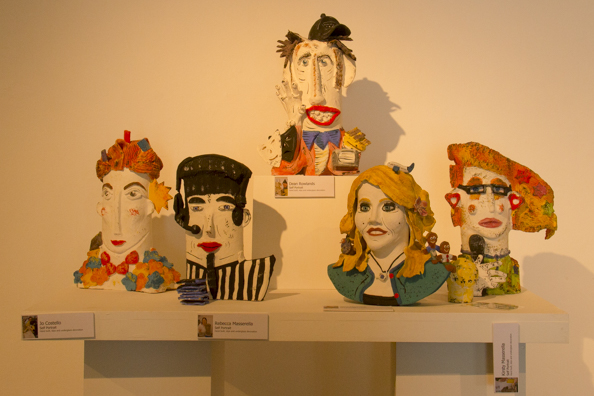 Ceramic sefl-portraits on display in the Lighthouse Centre of the Arts in Poole