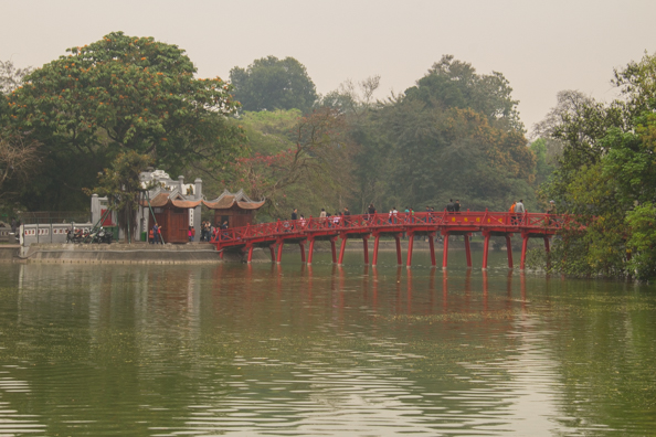 Ngoc Son Temple on Jade Island accessed by the Huc Bridge or Rising Sun Bridge across the Hoan Kiem Lake in Hanoi, VietnamVietnam
