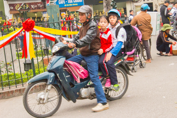 On the way home from school in Hanoi, Vietnam