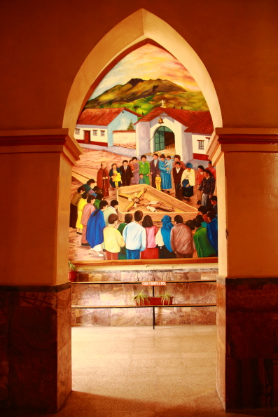 Painting in the church of San Luis in Otavalo Ecuador