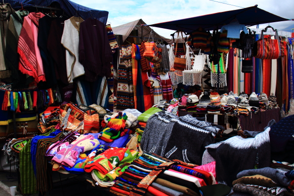 The Artisan market in Plaza de Ponchos in Otavalo Ecuador