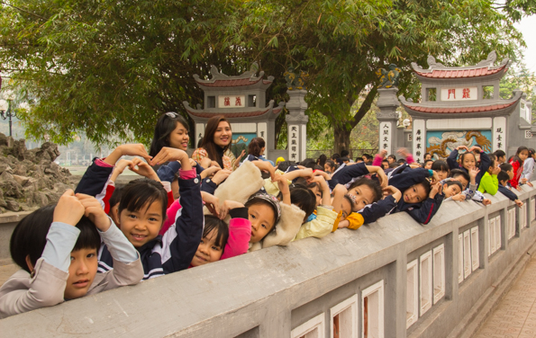 School children at Ngoc Son Temple on  Jade Island in Hoan Kiem Lake in Hano Vietnam