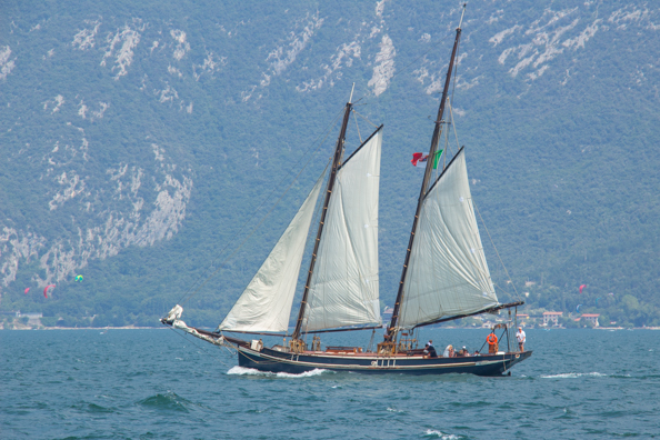 Siora Veronica setting sail from Malcesine on Lake Garda, Italy