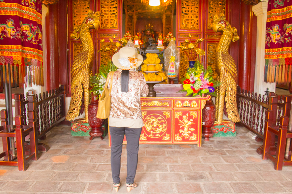 The interior of Ngoc Son Temple on Jade Island on Hoan Kiem Lake in Hanoi, Vietnam