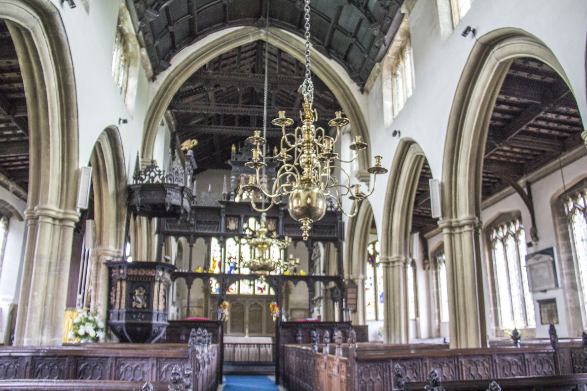 The Jacobean interior of the Church of St Mary the Virgin in Croscombe near Wells in Somerset, England  5541