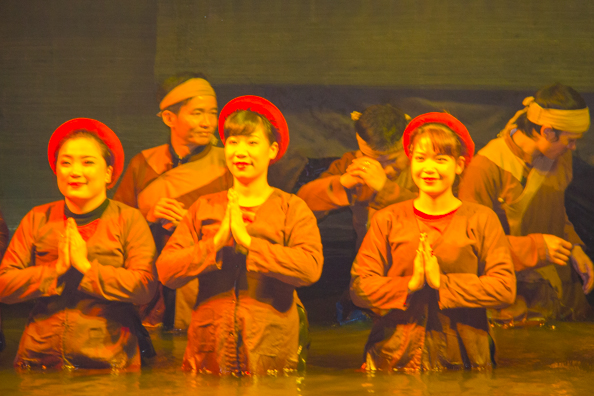 The puppeteers at Thang Long Water Puppet Theatre in Hanoi, Vietnam