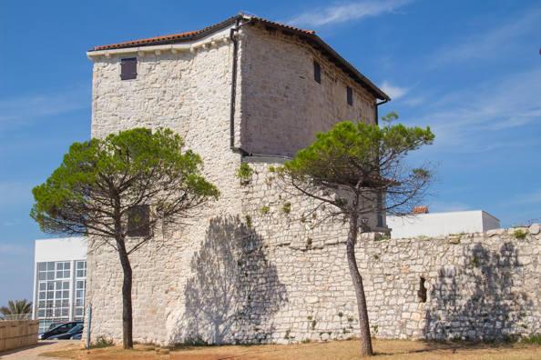 The Town Museum housed in a defenxive tower in the old town walls of Umag on the Istrian Coast of Croatia