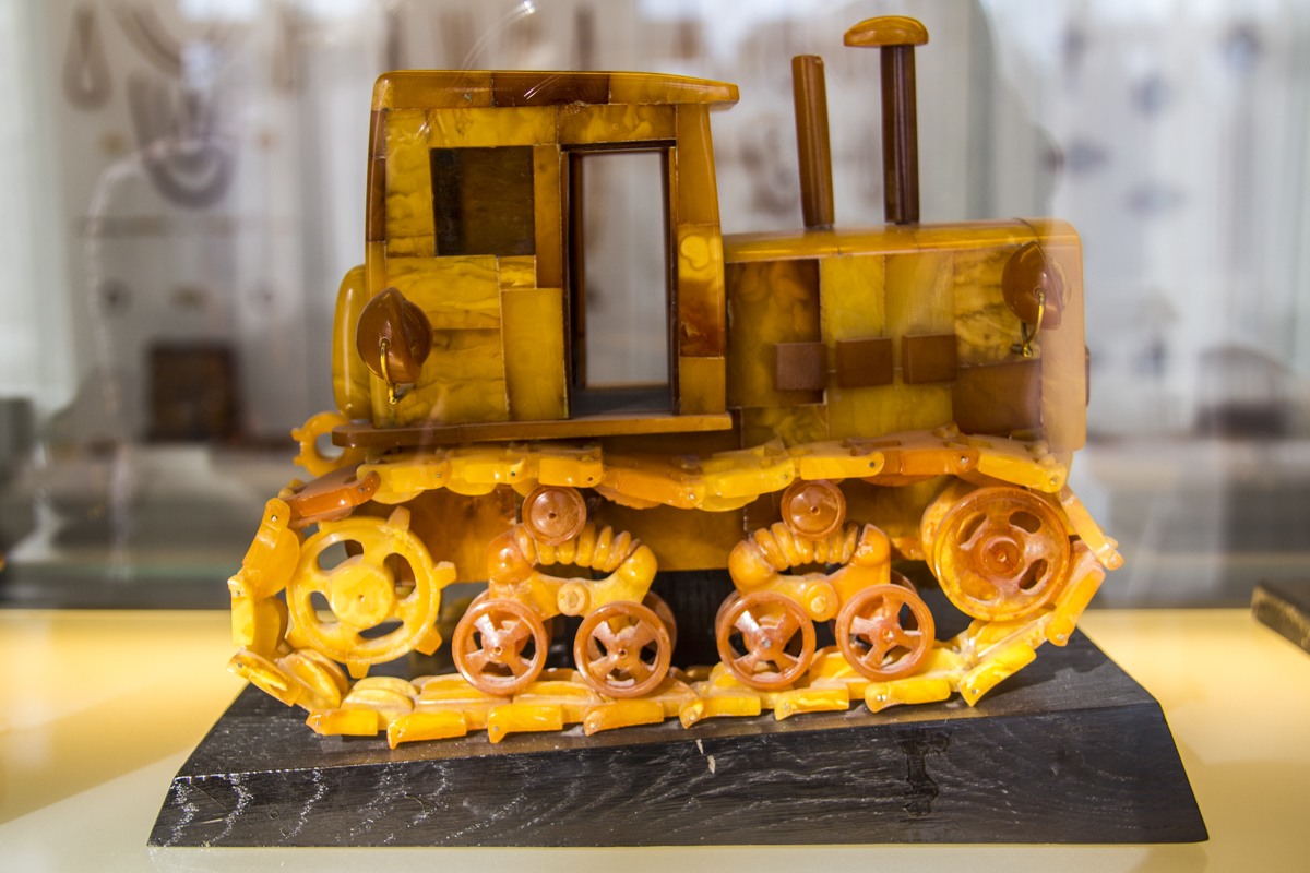 Tractor made out of amber in the Amber Museum in Palaga, Lithuania 0175