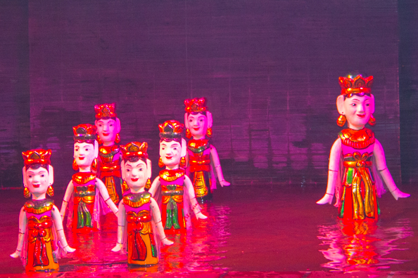 Water puppets at Thang Long Water Puppet Theatre in Hanoi, Vietnam
